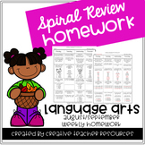 3rd Grade Spiral Review Weekly Homework- Language Arts-Aug