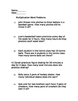 3rd Grade Sports-Themed Multiplication Word Problems