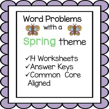 Spring Math Word Problem Worksheets 3rd Grade Common Core Tpt