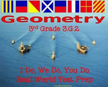 3rd Grade Standard 3.G.2 Real World Geometry TEST PREP MASTERY