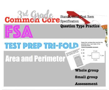 3rd Grade Standardized MATH TEST prep Trifolds: Area &Per  (FSA style questions)