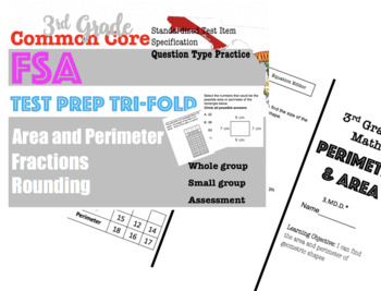 3rd Grade Standardized MATH TEST prep Trifolds BUNDLE
