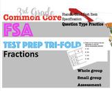 3rd Grade Standardized MATH TEST prep Trifolds: Fractions  (FSA style questions)