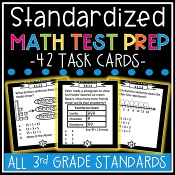 3rd Grade Standardized Math Test Prep Task Cards - MCA Math Prep 3rd Grade