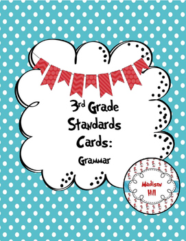 3rd Grade Standards Cards for Grammar (Georgia Common Core)