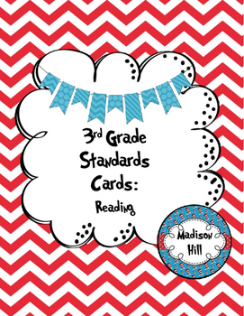 3rd Grade Standards Cards for Reading (Georgia Common Core)