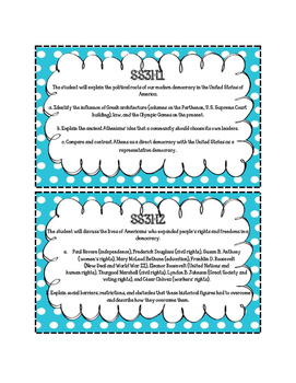 3rd Grade Standards Cards for Social Studies (Georgia Common Core)