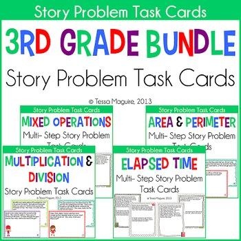 3rd Grade Story Problems Task Cards Bundle