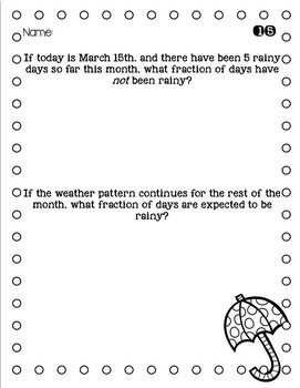 3rd Grade Problem of the Day Story Problems- March