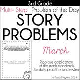 3rd Grade Word Problem of the Day Story Problems- March