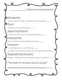 3rd Grade Student Friendly Opinion Checklist