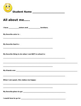 3rd Grade Student Interest Inventory Sheet