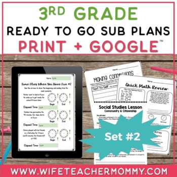 Sub Plans 3rd Grade Ready To Go for Substitute. DAY #2. No Prep. One full day.
