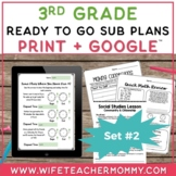 Sub Plans 3rd Grade Set #2- Emergency Substitute Plans for Sub Tub