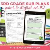 Sub Plans 3rd Grade Set #2- Emergency Substitute Plans for Sub Tub
