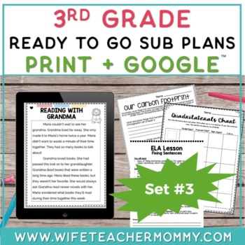 3rd Grade Sub Plans Ready To Go for Substitute. DAY #3. No