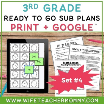 3rd Grade Sub Plans Ready To Go for Substitute. DAY #4. No Prep. One full day.