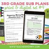 3rd Grade Sub Plans Set #4- Emergency Substitute Plans for Substitute Folder