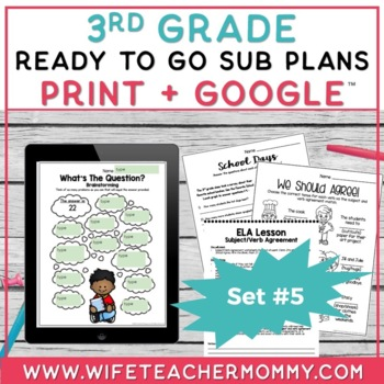 3rd Grade Sub Plans Ready To Go for Substitute. DAY #5. No Prep. One full day.