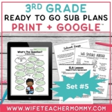3rd Grade Sub Plans Set #5- Emergency Third Grade Substitute Plans