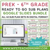 Sub Plans 3rd Grade 4 Set Bundle- Substitute Plans Third Grade for Sub Folder