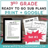 3rd Grade Sub Plans Set #1- Emergency Sub Plans for Substitute Folder
