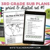 3rd Grade Sub Plans Set #1- Emergency Substitute Lessons Print + Google Bundle