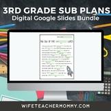 3rd Grade Sub Plans 3 Set Bundle- Emergency Substitute Plans for Sub Tub