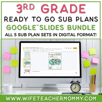 3rd Grade Sub Plans 3 Set Bundle- Emergency Substitute Plans for Sub Tub