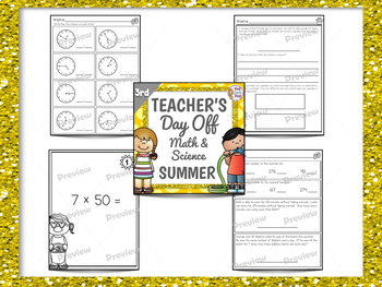 3rd Grade Sub Plans for Math and Science Summer Theme