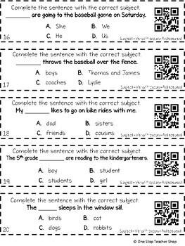 3rd Grade Subject Verb Agreement and Pronoun Antecedent Agreement Game