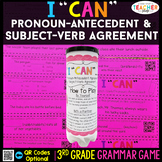 3rd Grade Subject Verb Agreement and Pronoun Antecedent Agreement Game