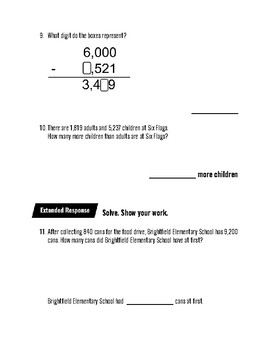 Math In Focus: 3rd Grade, Chapter 4 Subtraction Assessment