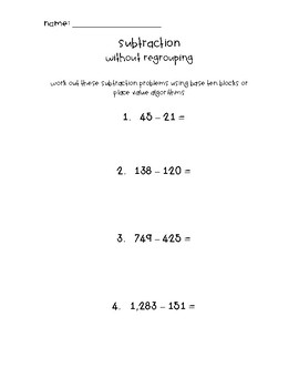 3rd Grade Subtraction Leveled Worksheets