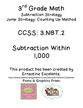 3rd Grade Subtraction Strategies Using an Open Number Line (3.NBT.2)