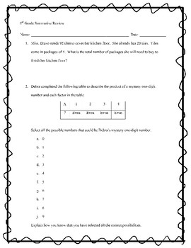 3rd Grade Summative Review