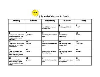 3rd Grade Summer Math Calendar