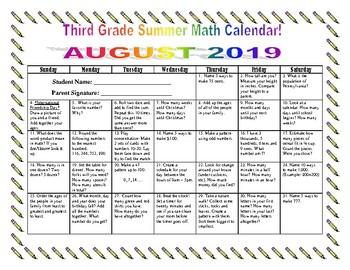 3rd Grade Summer Math Calendars