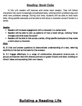 3rd Grade TC Bulletin Board Blurbs with CCLS and goals