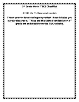3rd Grade TEKS Checklist (Art and Music)