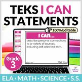 3rd Grade TEKS Digital I Can Statements Bundle   Editable
