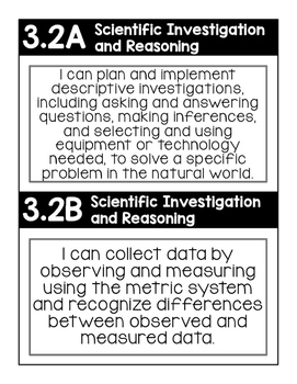 """3rd Grade TEKS """"I Can"""" Posters Black/White- Science"""