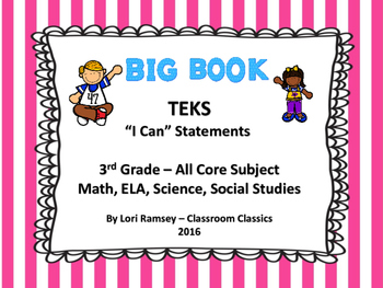 """3rd Grade TEKS """"I Can"""" Statements - All subjects"""