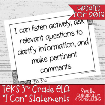 """Third Grade TEKS """"I Can"""" Statements Bundle- All 4 Core Subjects"""