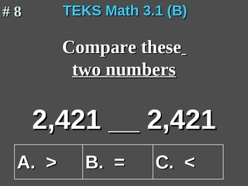 3rd Grade TEKS Math 3.1(B) Use Place Value To Compare Whole Numbers To 9,999.