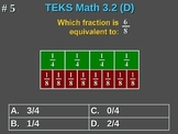 3rd Grade TEKS Math 3.2(D) Equivalent Fractions For Parts of Whole Numbers.