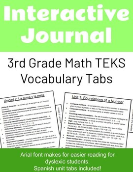 3rd Grade TEKS Math Vocab Interactive Notebook with Vocab