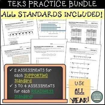 3rd GRADE TEKS PRACTICE ~ALL YEAR BUNDLE 424 STAAR QUESTIONS PROGRESS MONITORING
