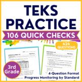 3rd Grade TEKS Practice Progress Monitoring Bundle | 424 STAAR Questions