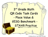 3rd Grade TEKS STAAR Math Task Cards Place Value Pirate QR Codes